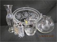 "Cornflower 10"" tray, 7.5""H vase, rose bowl ,"