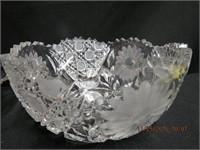 "Crystal Saw Tooth edge 8.25"" bowl ( minor damage),"