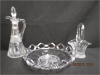 """Open lace 8.25"""" bowl, 7""""H flower basket and a"""