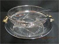 "Handled 12.75"" tray, salad servers, ribbed silver"
