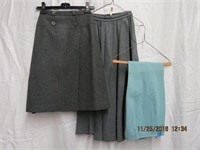 2 wool grey skirts and a pair of wool pants