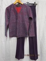 Boucle sweater and coordinating knit pants