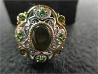 Ladies Oval Green Gemstone Ring- Size 8