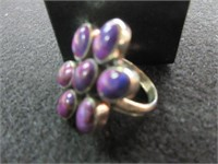 Ladies Sterling Silver Pink/Purple Jasper Stone Ri