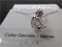 Ladies Sterling Silver Cubic Zirconia Pendant Neck