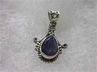 Ladies Sterling Silver Blue Gemstone Pendant