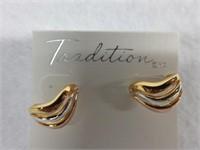 Ladies Sterling Silver Two Toned Earrings