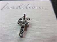 Sterling Silver Cubic-Zirconia Cross Pendant