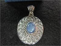 Ladies Sterling Silver Blue Gemstone Pendant Neckl