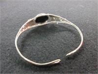 Ladies Sterling Silver Onyx Gemstone Bangle Bracel