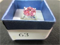 Ladies Ornate Pink Gemstone Ring