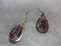 Ladies Sterling Silver Purple Jasper Gemstone Earr
