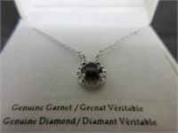 Garnet and Diamond Pendant on Sterling Silver Chai