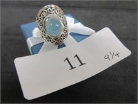 Ladies Oversized Blue Gemstone Ring