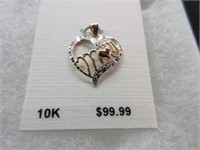 10K Gold Heart Shaped MOM Pendant