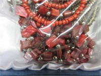 Ladies Red Beaded Necklace