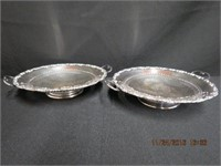 """Pair of footed handled silver bowls 8.25"""" across"""
