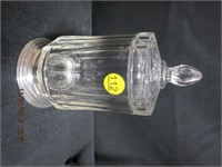 Silver base glass covered jar