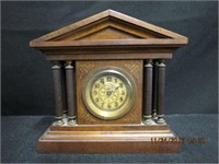 """Antique tabletop clock 6 X 2 X 5""""H, working"""