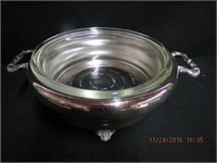 Silver footed handled entree server with glass