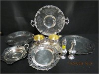 Lot of silver trays, cream and sugar, salt and