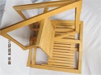 3 folding wood chairs