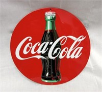 """Embossed COCA-COLA """"Red Disc"""" Metal Sign"""