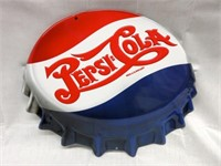 "Embossed PEPSI ""Cap"" Metal Sign"