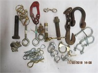 Assortment of bolt locks, u bolts, eye bolts,