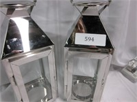 Pair of Chrome and Glass Decorative Lanterns