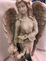Ceramic Angel and Child Statue- Indoor/Outdoor