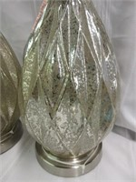 Pair of Speckled Glass Metallic Lamps