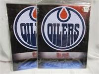 Pair of 3 NHL OILERS Metal Wall Plaques