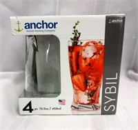 "ANCHOR ""Sybil"" 4 Piece Drinking Glass Set"