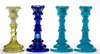 Many colored candlesticks including a rare Canary opalescent Pittsburgh example.