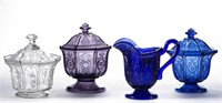 Variety of lacy glass including a complete Ihmsen covered sugar bowl.