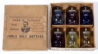 """Set of six Christmas salts in original """"DANA K. ALDEN'S"""" box."""