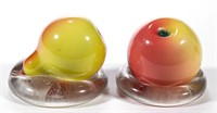 New England fruit-form paperweights.