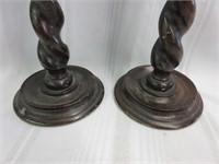 Vintage Wooden Barley Twist Candle Holders