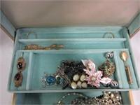 Retro Jewelry Box Filled with Various Costume Jewe