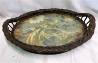 Antique Wicker Serving Tray