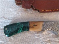 Antique Bone and Glass Handled Knife- with Case