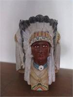 Handcrafter Ceramic Aborginal Chief Sculpture