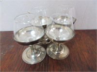 Lot of 4 Sterling Silver Stemmed Shot Glasses