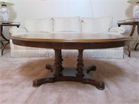 Antique Wooden Oval Pedestal Coffee Table