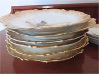 Set of Handpainted Porcelain Limoges Bird Plates