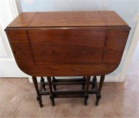 Antique Wooden Gate Leg Table with Inlay Border