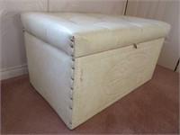 Retro Vinyl Upholstered Ottoman