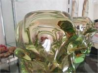 Heavy Green Art Glass Sculptural Piece
