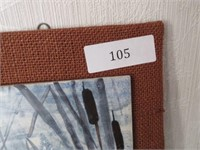 Painted Tiled Mounted on Burlap- signed HOEY